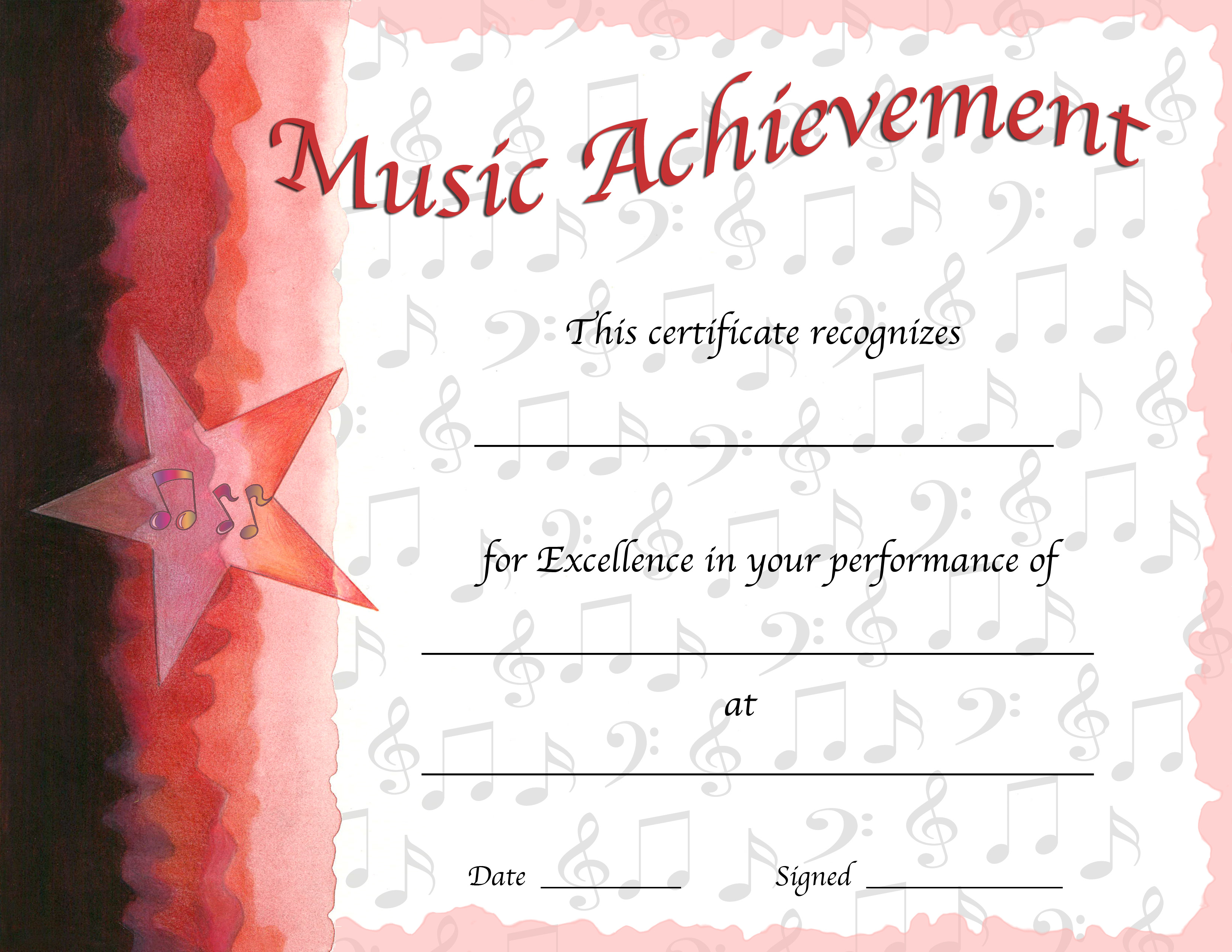 Free Editable Music Certificate Template Free And New PDF